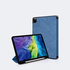 Funda de Cuero Cartera con Soporte Carcasa L04 para Apple iPad Pro 11 (2020) Azul