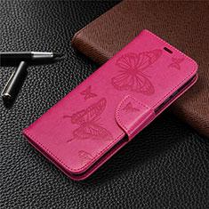 Funda de Cuero Cartera con Soporte Carcasa L04 para Huawei Honor 9A Rosa Roja