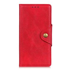 Funda de Cuero Cartera con Soporte Carcasa L04 para Motorola Moto G9 Rojo