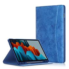 Funda de Cuero Cartera con Soporte Carcasa L04 para Samsung Galaxy Tab S7 Plus 5G 12.4 SM-T976 Azul