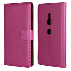 Funda de Cuero Cartera con Soporte Carcasa L04 para Sony Xperia XZ2 Rosa Roja