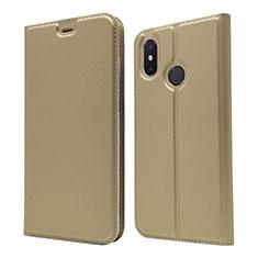 Funda de Cuero Cartera con Soporte Carcasa L04 para Xiaomi Mi 8 Oro