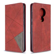 Funda de Cuero Cartera con Soporte Carcasa L05 para Nokia 7.2 Rojo