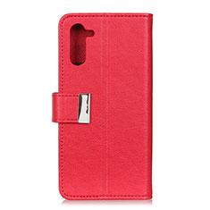 Funda de Cuero Cartera con Soporte Carcasa L05 para OnePlus Nord Rojo