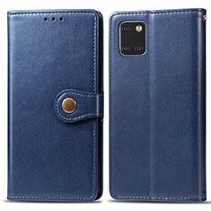 Funda de Cuero Cartera con Soporte Carcasa L05 para Samsung Galaxy A81 Azul