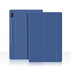 Funda de Cuero Cartera con Soporte Carcasa L05 para Samsung Galaxy Tab S7 11 Wi-Fi SM-T870 Azul
