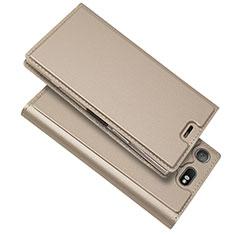 Funda de Cuero Cartera con Soporte Carcasa L05 para Sony Xperia XZ1 Compact Oro