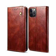 Funda de Cuero Cartera con Soporte Carcasa L06 para Apple iPhone 12 Pro Marron