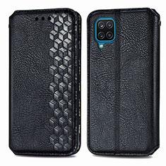 Funda de Cuero Cartera con Soporte Carcasa L06 para Samsung Galaxy A12 Negro