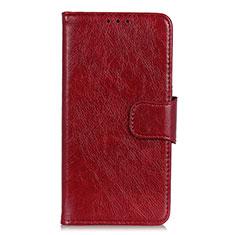 Funda de Cuero Cartera con Soporte Carcasa L06 para Samsung Galaxy S21 Ultra 5G Rojo Rosa