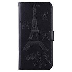 Funda de Cuero Cartera con Soporte Carcasa L06 para Sony Xperia 8 Lite Negro