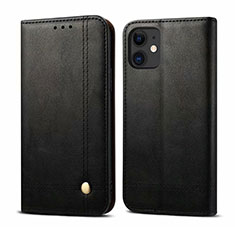 Funda de Cuero Cartera con Soporte Carcasa L07 para Apple iPhone 12 Mini Negro