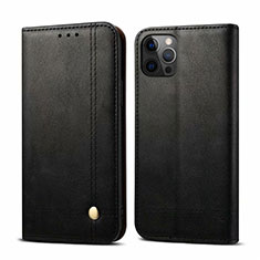 Funda de Cuero Cartera con Soporte Carcasa L07 para Apple iPhone 12 Pro Negro