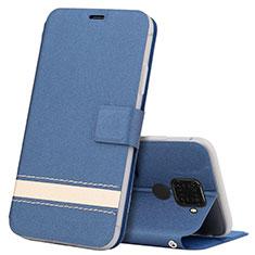 Funda de Cuero Cartera con Soporte Carcasa L07 para Huawei Nova 5i Pro Azul