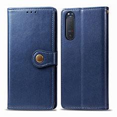 Funda de Cuero Cartera con Soporte Carcasa L08 para Sony Xperia 5 II Azul