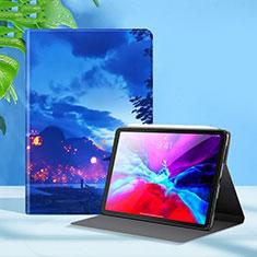 Funda de Cuero Cartera con Soporte Carcasa L09 para Apple iPad Pro 12.9 (2020) Azul