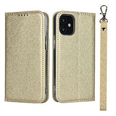 Funda de Cuero Cartera con Soporte Carcasa L09 para Apple iPhone 12 Mini Oro