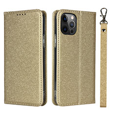 Funda de Cuero Cartera con Soporte Carcasa L09 para Apple iPhone 12 Pro Oro