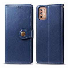 Funda de Cuero Cartera con Soporte Carcasa L09 para Motorola Moto G9 Plus Azul