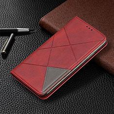 Funda de Cuero Cartera con Soporte Carcasa L10 para Huawei Y6p Rojo