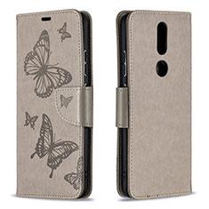 Funda de Cuero Cartera con Soporte Carcasa L10 para Nokia 2.4 Gris