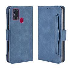 Funda de Cuero Cartera con Soporte Carcasa L10 para Samsung Galaxy M21s Azul