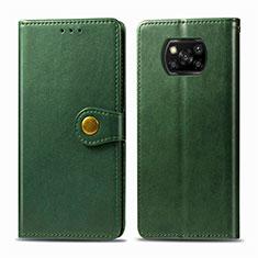 Funda de Cuero Cartera con Soporte Carcasa L10 para Xiaomi Poco X3 NFC Verde