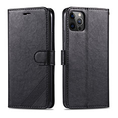 Funda de Cuero Cartera con Soporte Carcasa L11 para Apple iPhone 12 Pro Negro