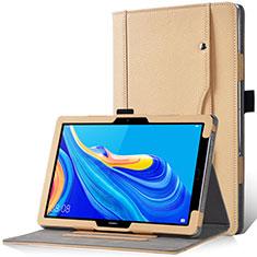 Funda de Cuero Cartera con Soporte Carcasa L12 para Huawei MediaPad M6 10.8 Oro