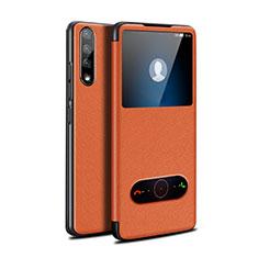 Funda de Cuero Cartera con Soporte Carcasa L12 para Huawei Y8p Naranja