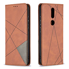 Funda de Cuero Cartera con Soporte Carcasa L12 para Nokia 2.4 Marron
