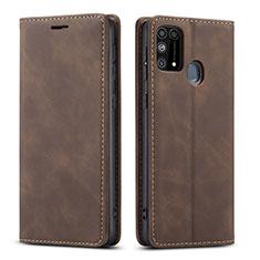 Funda de Cuero Cartera con Soporte Carcasa L15 para Samsung Galaxy M21s Marron
