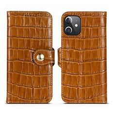 Funda de Cuero Cartera con Soporte Carcasa N02 para Apple iPhone 12 Marron