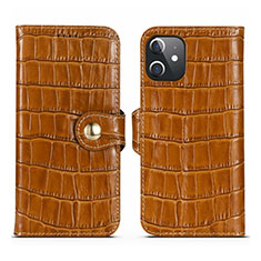 Funda de Cuero Cartera con Soporte Carcasa N02 para Apple iPhone 12 Mini Marron