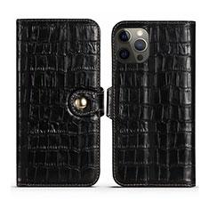 Funda de Cuero Cartera con Soporte Carcasa N02 para Apple iPhone 12 Pro Max Negro