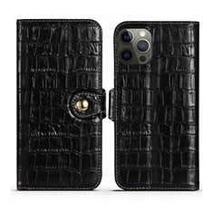 Funda de Cuero Cartera con Soporte Carcasa N02 para Apple iPhone 12 Pro Negro