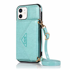 Funda de Cuero Cartera con Soporte Carcasa N03 para Apple iPhone 12 Mini Cian
