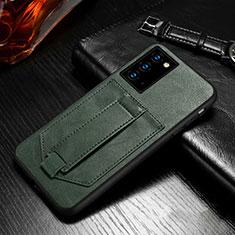 Funda de Cuero Cartera con Soporte Carcasa N08 para Samsung Galaxy Note 20 5G Verde Noche