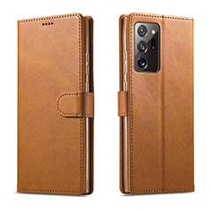 Funda de Cuero Cartera con Soporte Carcasa N08 para Samsung Galaxy Note 20 Ultra 5G Marron Claro