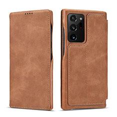 Funda de Cuero Cartera con Soporte Carcasa N09 para Samsung Galaxy Note 20 Ultra 5G Marron Claro