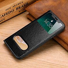 Funda de Cuero Cartera con Soporte Carcasa P02 para Apple iPhone Xs Max Negro
