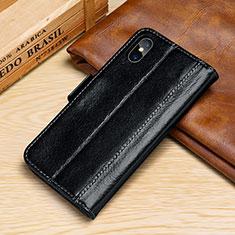 Funda de Cuero Cartera con Soporte Carcasa P05 para Apple iPhone Xs Max Negro
