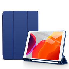 Funda de Cuero Cartera con Soporte Carcasa para Apple iPad 10.2 (2020) Azul