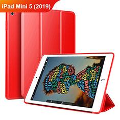 Funda de Cuero Cartera con Soporte Carcasa para Apple iPad Mini 5 (2019) Rojo