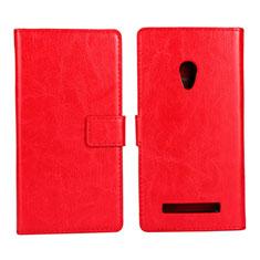 Funda de Cuero Cartera con Soporte Carcasa para Asus Zenfone 5 Rojo