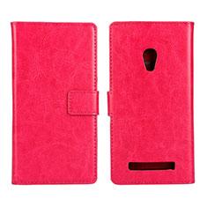 Funda de Cuero Cartera con Soporte Carcasa para Asus Zenfone 5 Rosa Roja