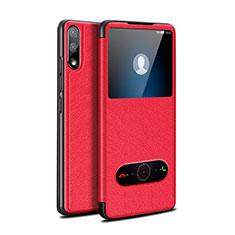 Funda de Cuero Cartera con Soporte Carcasa para Huawei Enjoy 10 Rojo