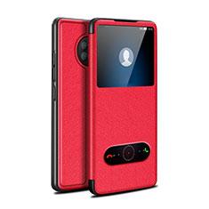 Funda de Cuero Cartera con Soporte Carcasa para Huawei Enjoy 20 Plus 5G Rojo