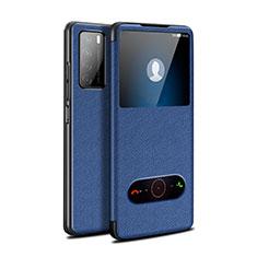 Funda de Cuero Cartera con Soporte Carcasa para Huawei Honor Play4 5G Azul