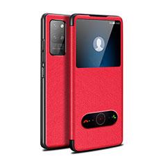 Funda de Cuero Cartera con Soporte Carcasa para Huawei Honor Play4 Pro 5G Rojo